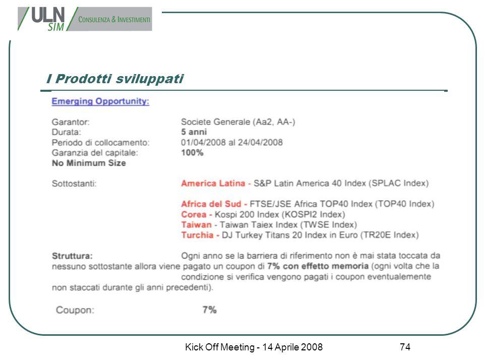 Kick Off Meeting - 14 Aprile 2008 74 I Prodotti sviluppati