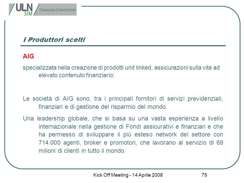 Kick Off Meeting - 14 Aprile 2008 75 I Produttori scelti AIG specializzata nella creazione di prodotti unit linked, assicurazioni sulla vita ad elevat