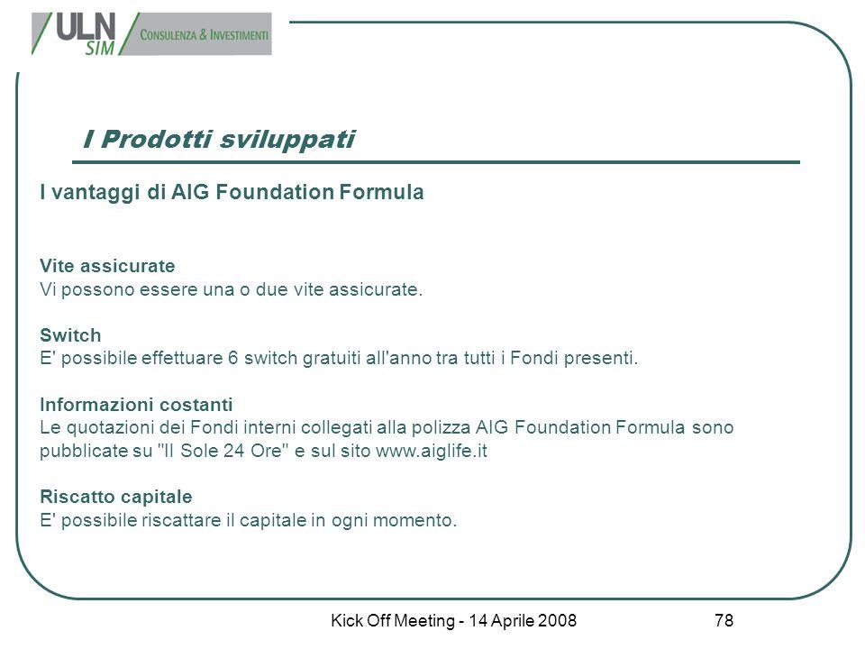Kick Off Meeting - 14 Aprile 2008 78 I Prodotti sviluppati I vantaggi di AIG Foundation Formula Vite assicurate Vi possono essere una o due vite assic