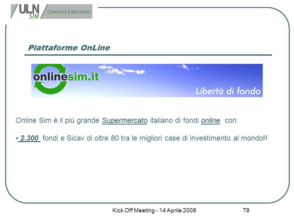 Kick Off Meeting - 14 Aprile 2008 79 Piattaforme OnLine Supermercatoonline Online Sim è il più grande Supermercato italiano di fondi online con: 2.300