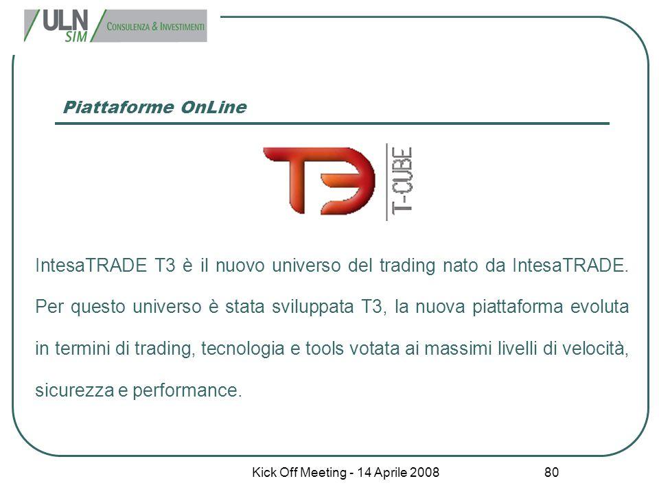Kick Off Meeting - 14 Aprile 2008 80 Piattaforme OnLine IntesaTRADE T3 è il nuovo universo del trading nato da IntesaTRADE. Per questo universo è stat