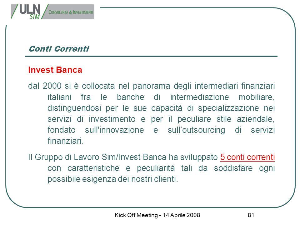 Kick Off Meeting - 14 Aprile 2008 81 Conti Correnti Invest Banca dal 2000 si è collocata nel panorama degli intermediari finanziari italiani fra le ba