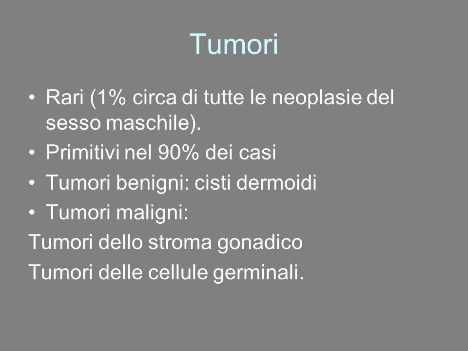 Tumori Rari (1% circa di tutte le neoplasie del sesso maschile). Primitivi nel 90% dei casi Tumori benigni: cisti dermoidi Tumori maligni: Tumori dell