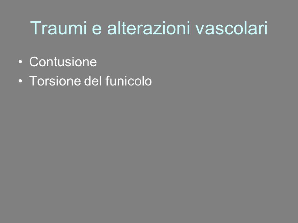 Traumi e alterazioni vascolari Contusione Torsione del funicolo