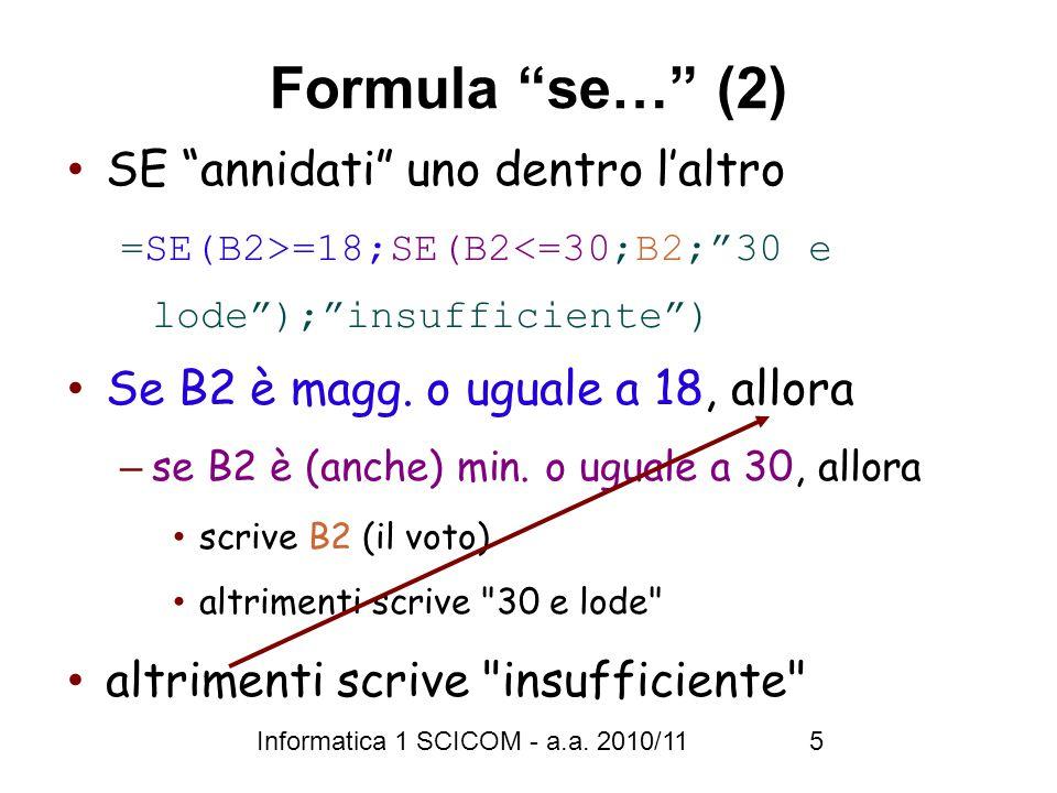 Informatica 1 SCICOM - a.a. 2010/11 6 Grafici X Y
