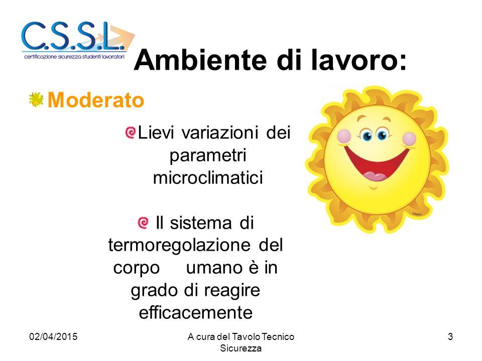 Ambiente di lavoro: Moderato Lievi variazioni dei parametri microclimatici Il sistema di termoregolazione del corpo umano è in grado di reagire effica
