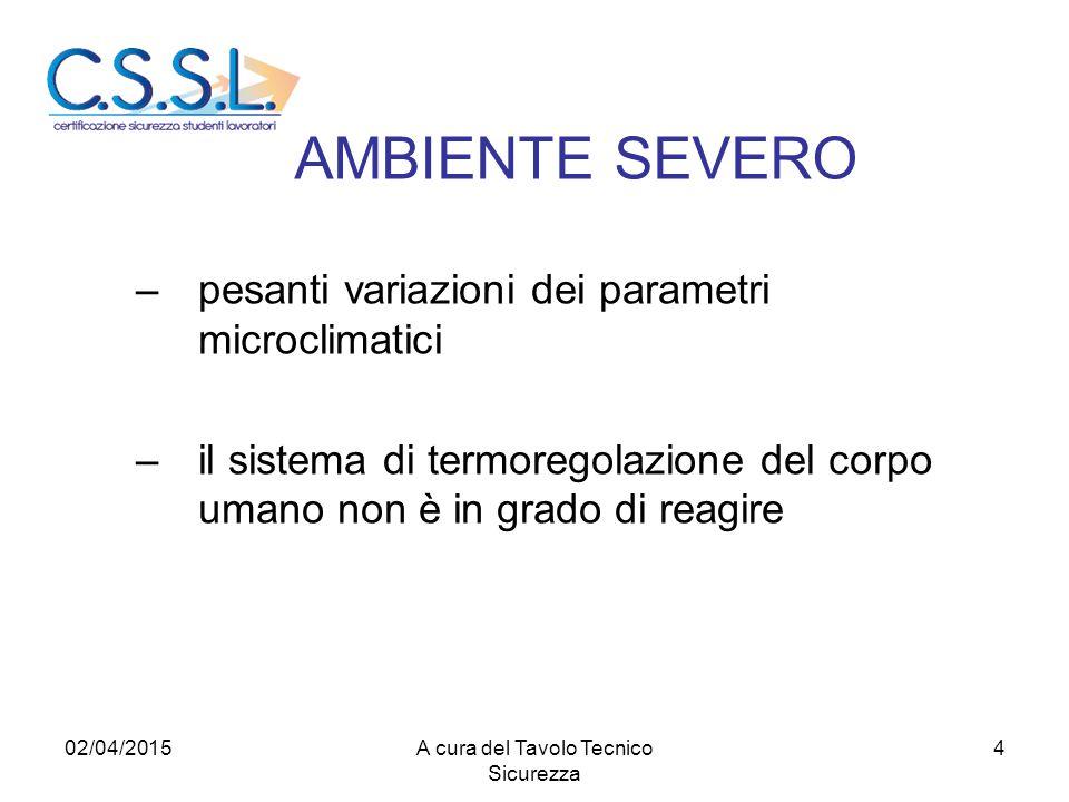 AMBIENTE SEVERO –pesanti variazioni dei parametri microclimatici –il sistema di termoregolazione del corpo umano non è in grado di reagire 02/04/20154