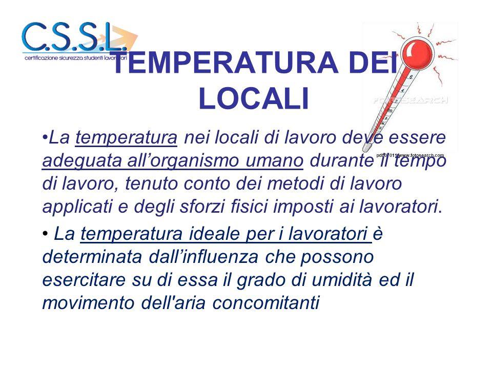 TEMPERATURA DEI LOCALI La temperatura nei locali di lavoro deve essere adeguata all'organismo umano durante il tempo di lavoro, tenuto conto dei metod