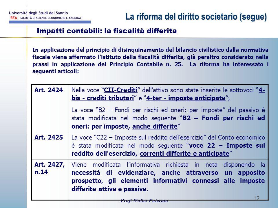 Prof. Walter Palermo 12 In applicazione del principio di disinquinamento del bilancio civilistico dalla normativa fiscale viene affermato l'istituto d