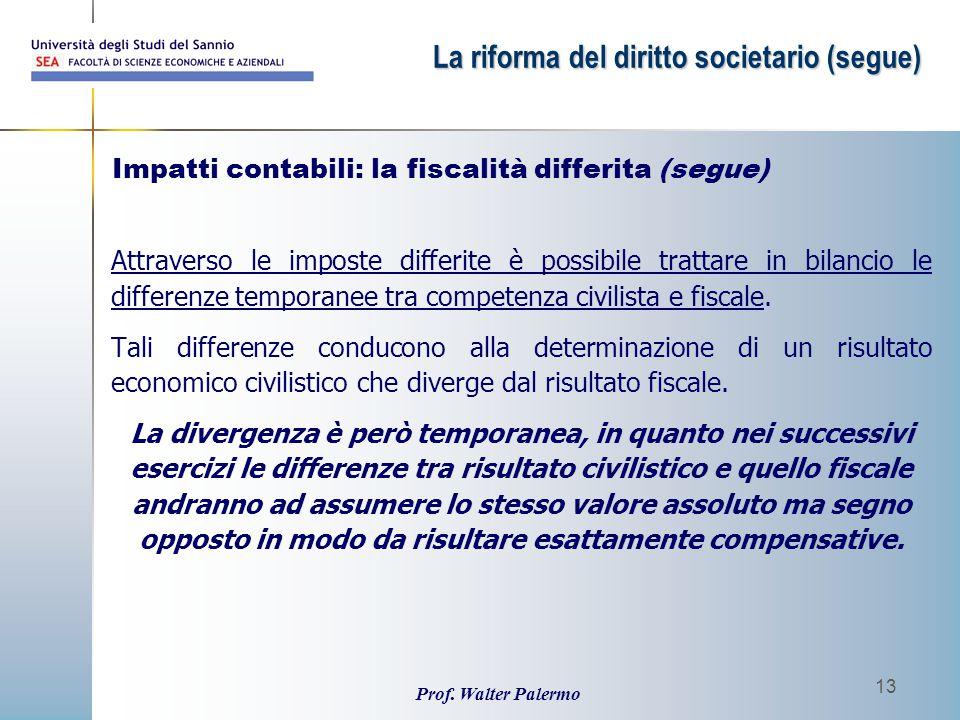 Prof. Walter Palermo 13 Attraverso le imposte differite è possibile trattare in bilancio le differenze temporanee tra competenza civilista e fiscale.