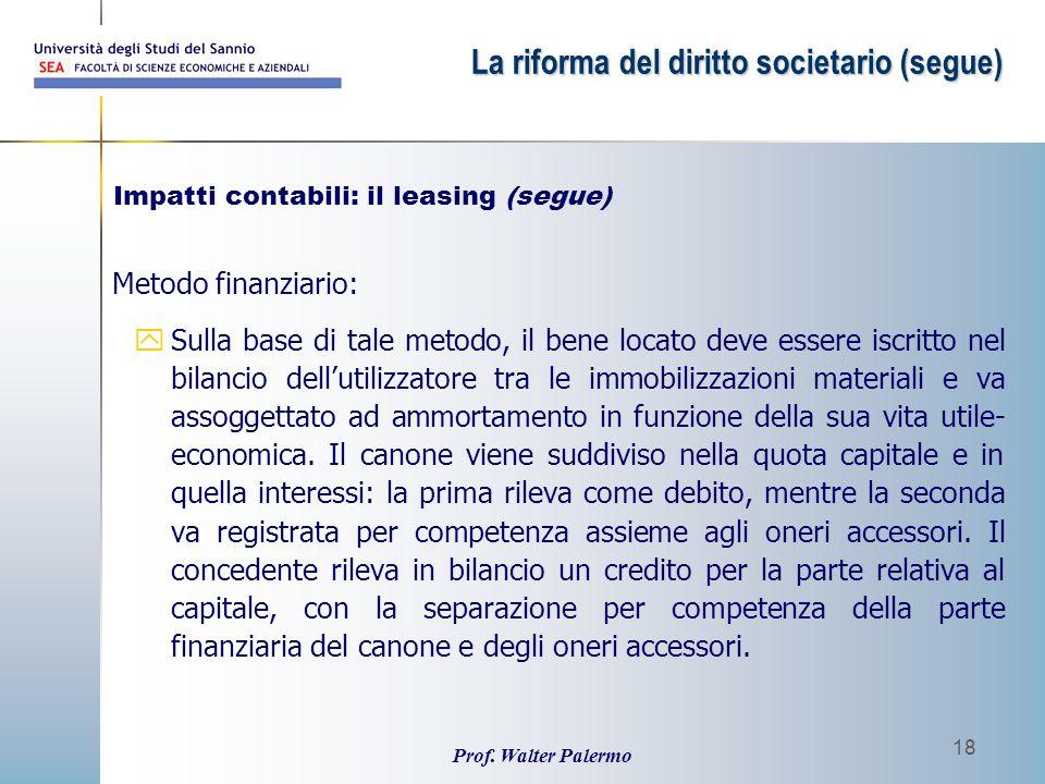 Prof. Walter Palermo 18 Metodo finanziario: ySulla base di tale metodo, il bene locato deve essere iscritto nel bilancio dell'utilizzatore tra le immo