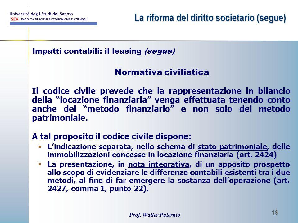 """Prof. Walter Palermo 19 Normativa civilistica Il codice civile prevede che la rappresentazione in bilancio della """"locazione finanziaria"""" venga effettu"""