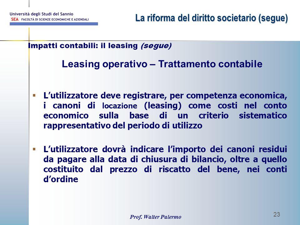 Prof. Walter Palermo 23  L'utilizzatore deve registrare, per competenza economica, i canoni di locazione (leasing) come costi nel conto economico sul