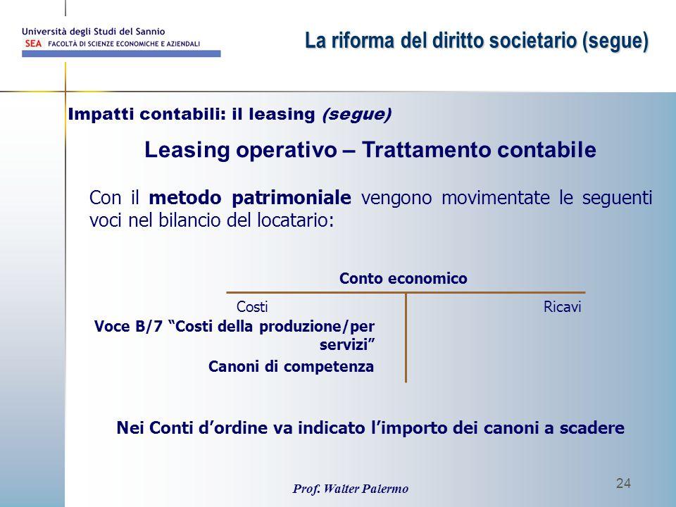 Prof. Walter Palermo 24 Con il metodo patrimoniale vengono movimentate le seguenti voci nel bilancio del locatario: Leasing operativo – Trattamento co