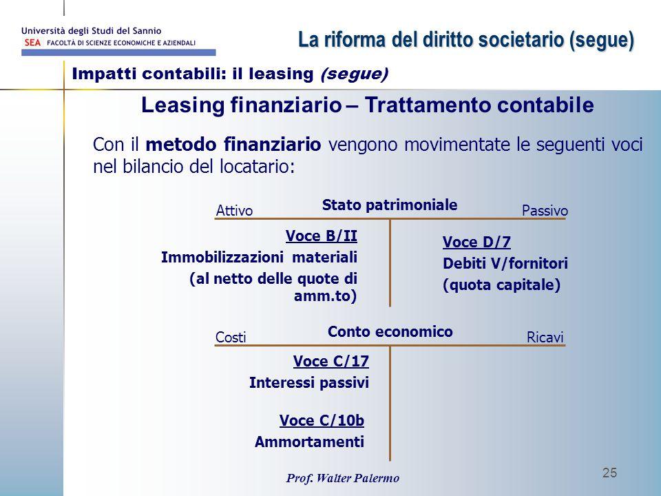 Prof. Walter Palermo 25 Con il metodo finanziario vengono movimentate le seguenti voci nel bilancio del locatario: Leasing finanziario – Trattamento c