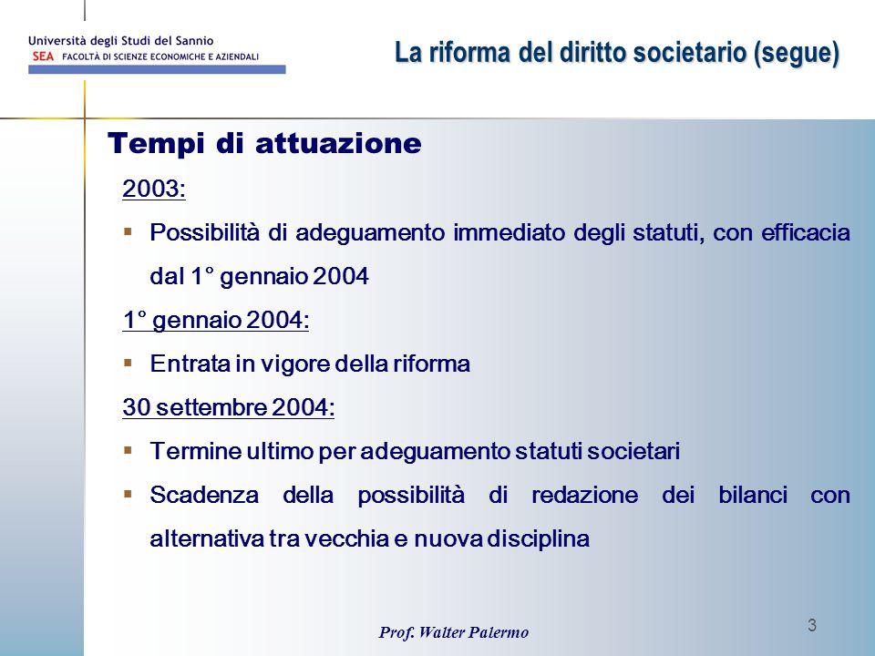 Prof. Walter Palermo 3 Tempi di attuazione 2003:  Possibilità di adeguamento immediato degli statuti, con efficacia dal 1° gennaio 2004 1° gennaio 20