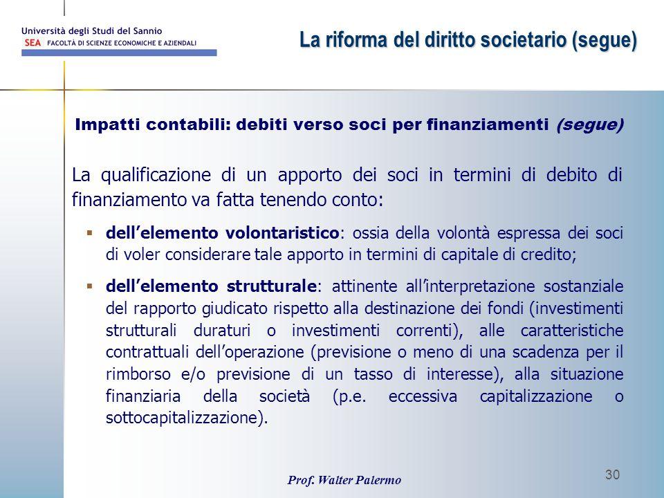 Prof. Walter Palermo 30 La qualificazione di un apporto dei soci in termini di debito di finanziamento va fatta tenendo conto:  dell'elemento volonta