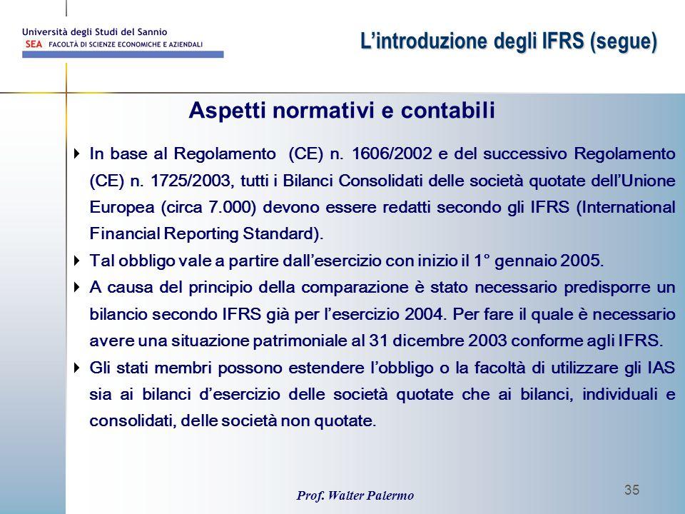 Prof. Walter Palermo 35 Aspetti normativi e contabili  In base al Regolamento (CE) n. 1606/2002 e del successivo Regolamento (CE) n. 1725/2003, tutti
