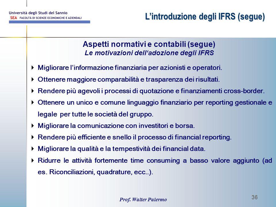 Prof. Walter Palermo 36  Migliorare l'informazione finanziaria per azionisti e operatori.  Ottenere maggiore comparabilità e trasparenza dei risulta
