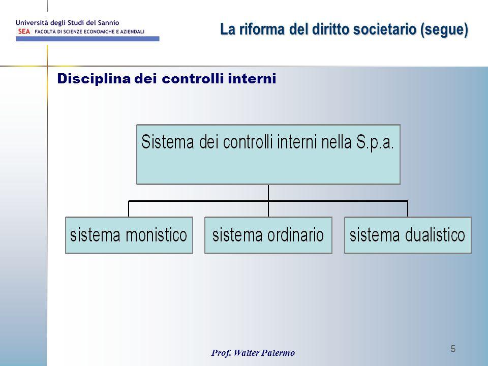 Prof. Walter Palermo 5 Disciplina dei controlli interni La riforma del diritto societario (segue)