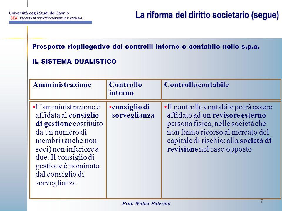 Prof. Walter Palermo 7 Prospetto riepilogativo dei controlli interno e contabile nelle s.p.a. IL SISTEMA DUALISTICO Il controllo contabile potrà esser
