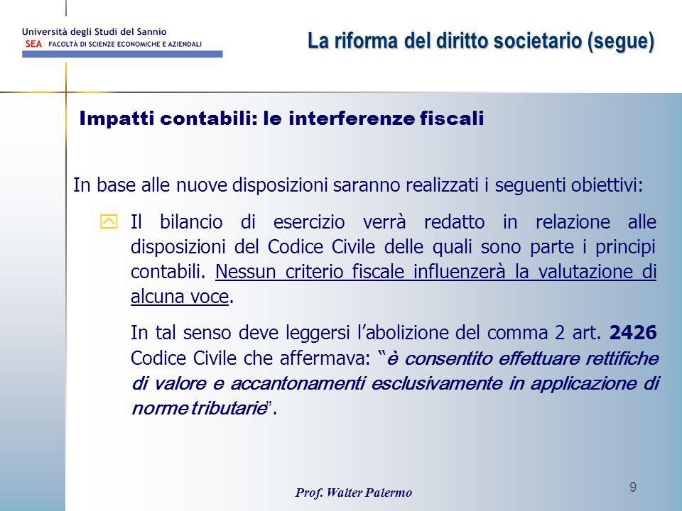 Prof. Walter Palermo 9 In base alle nuove disposizioni saranno realizzati i seguenti obiettivi: yIl bilancio di esercizio verrà redatto in relazione a