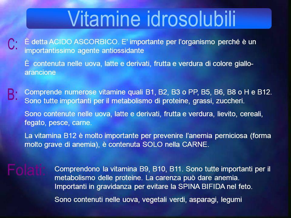 È detta ACIDO ASCORBICO. E' importante per l'organismo perché è un importantissimo agente antiossidante È contenuta nelle uova, latte e derivati, frut