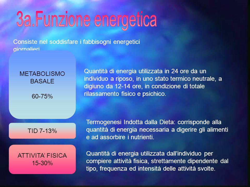 Consiste nel soddisfare i fabbisogni energetici giornalieri. ATTIVITA' FISICA 15-30% TID 7-13% METABOLISMO BASALE 60-75% Quantità di energia utilizzat