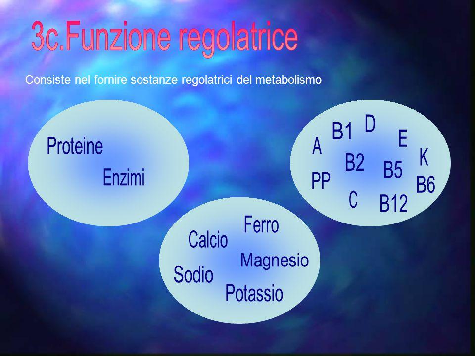 Consiste nel fornire sostanze regolatrici del metabolismo