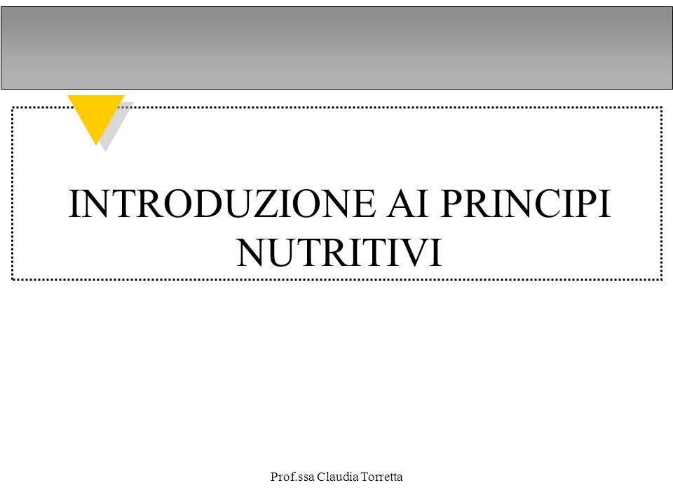 INTRODUZIONE AI PRINCIPI NUTRITIVI Prof.ssa Claudia Torretta