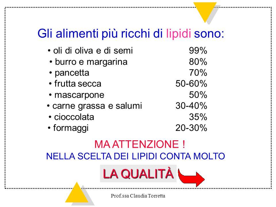 Gli alimenti più ricchi di lipidi sono: oli di oliva e di semi 99% burro e margarina 80% pancetta 70% frutta secca 50-60% mascarpone 50% carne grassa