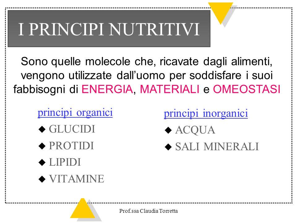 principi organici u GLUCIDI u PROTIDI u LIPIDI u VITAMINE I PRINCIPI NUTRITIVI principi inorganici u ACQUA u SALI MINERALI Sono quelle molecole che, r