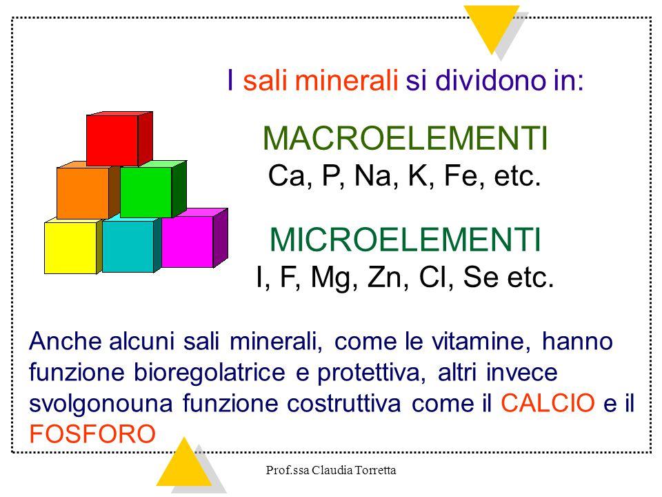 I sali minerali si dividono in: MACROELEMENTI Ca, P, Na, K, Fe, etc. MICROELEMENTI I, F, Mg, Zn, Cl, Se etc. Anche alcuni sali minerali, come le vitam