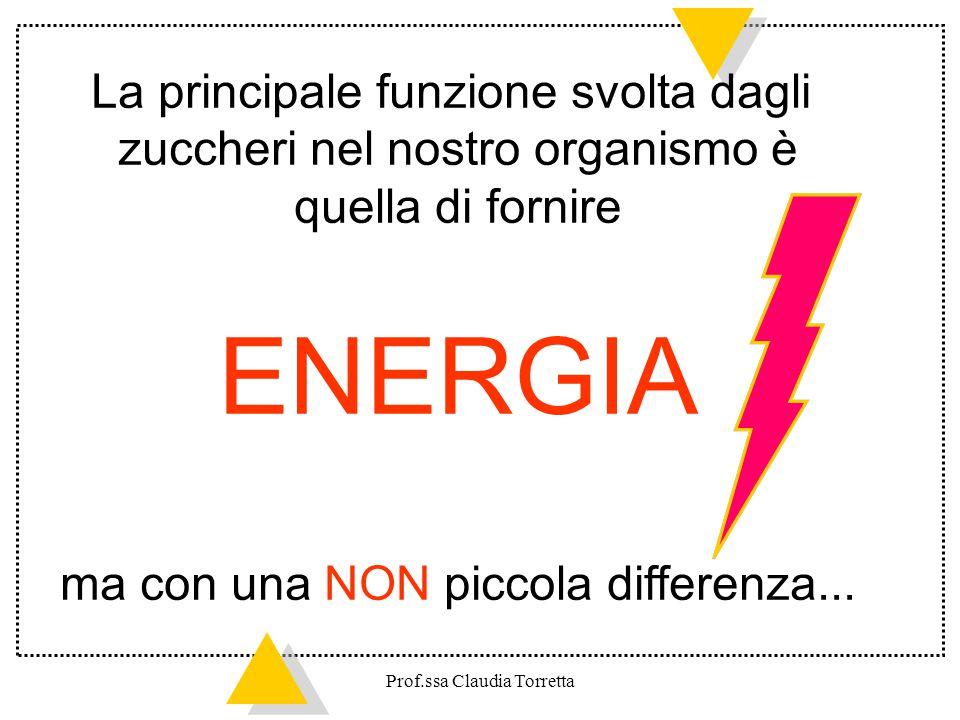 Gli zuccheri semplici rilasciano energia di pronto uso, da spendere entro pochi minuti MA se non vengono utilizzati subito si trasformano facilmente in GRASSO Prof.ssa Claudia Torretta