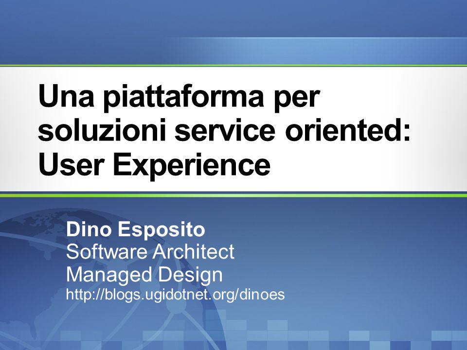 Una piattaforma per soluzioni service oriented: User Experience Dino Esposito Software Architect Managed Design http://blogs.ugidotnet.org/dinoes