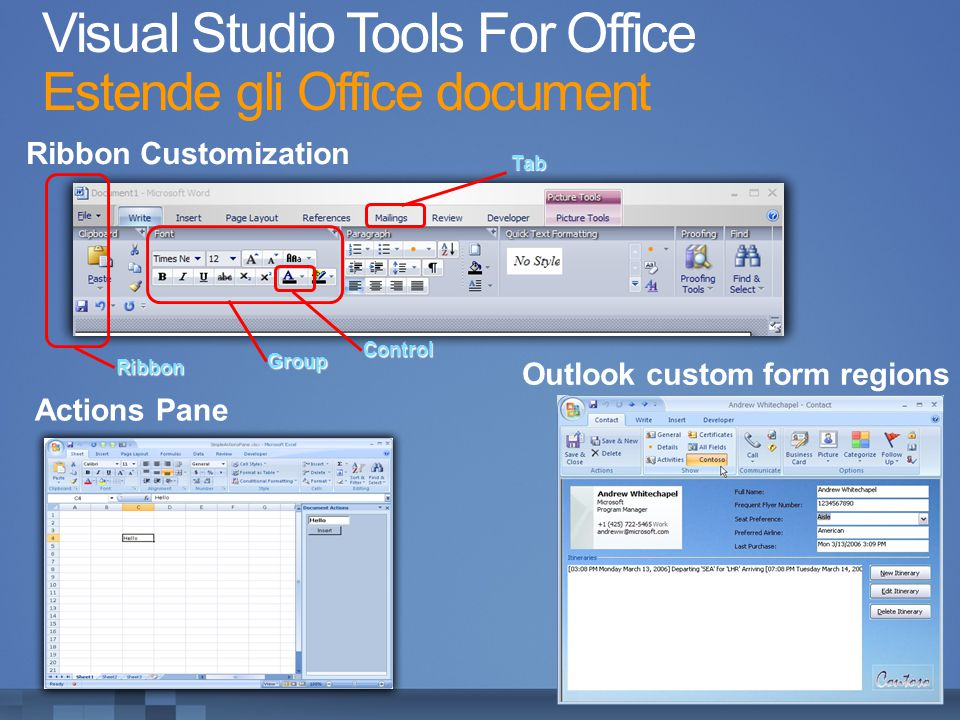 Visual Studio Tools For Office Estende gli Office documentTab Group Ribbon Control Ribbon Customization Outlook custom form regions Actions Pane