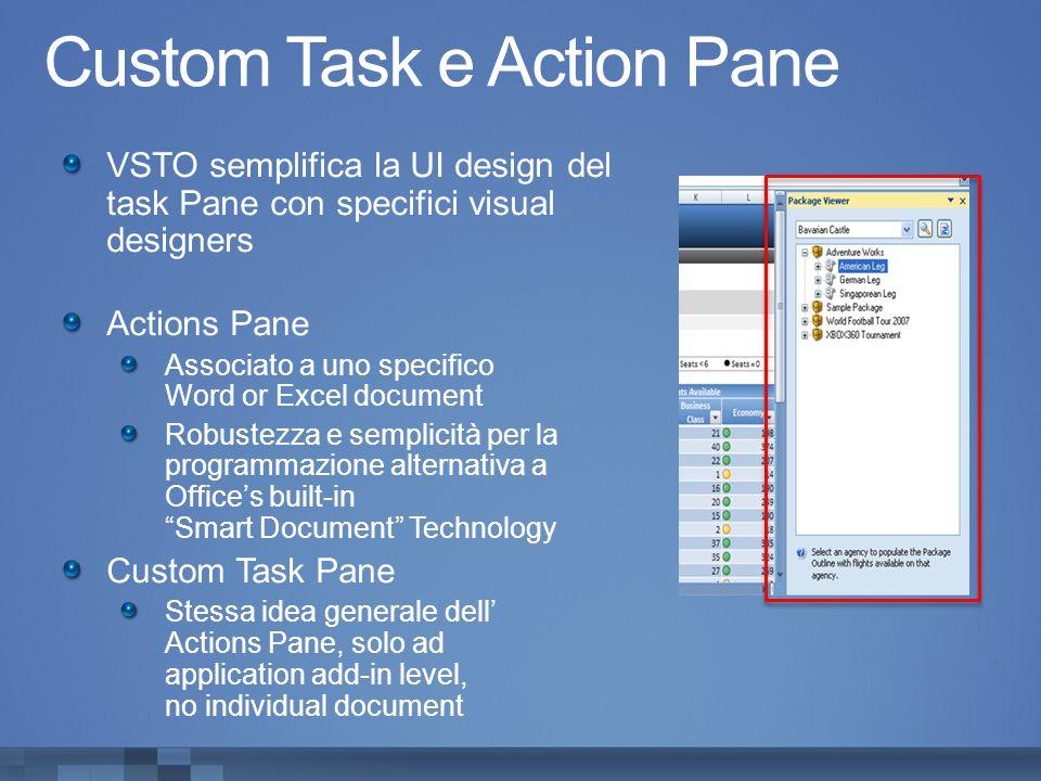 Custom Task e Action Pane VSTO semplifica la UI design del task Pane con specifici visual designers Actions Pane Associato a uno specifico Word or Exc