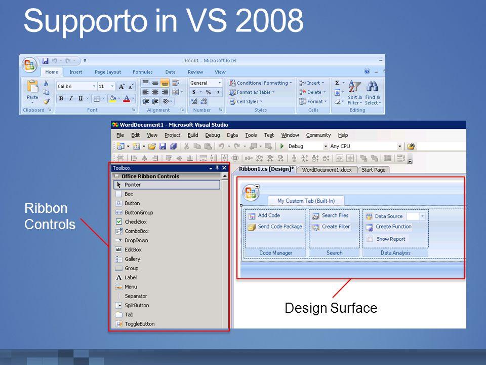 Supporto in VS 2008 Ribbon Controls Design Surface
