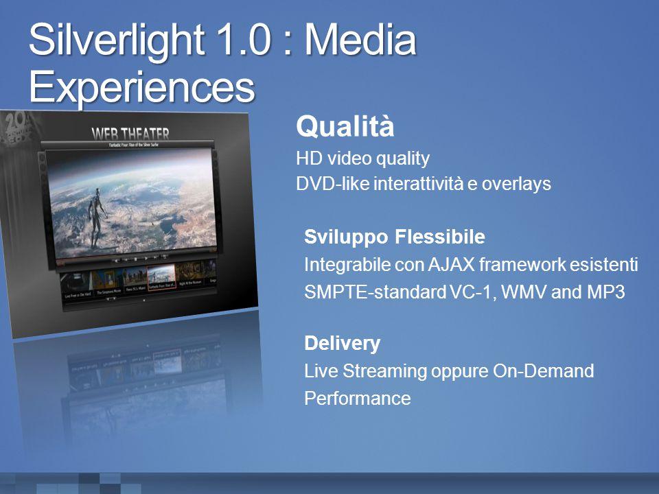 Silverlight 1.0 : Media Experiences Qualità HD video quality DVD-like interattività e overlays Sviluppo Flessibile Integrabile con AJAX framework esistenti SMPTE-standard VC-1, WMV and MP3 Delivery Live Streaming oppure On-Demand Performance