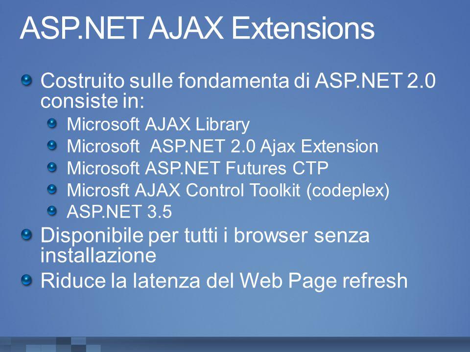 ASP.NET AJAX Extensions Costruito sulle fondamenta di ASP.NET 2.0 consiste in: Microsoft AJAX Library Microsoft ASP.NET 2.0 Ajax Extension Microsoft ASP.NET Futures CTP Microsft AJAX Control Toolkit (codeplex) ASP.NET 3.5 Disponibile per tutti i browser senza installazione Riduce la latenza del Web Page refresh