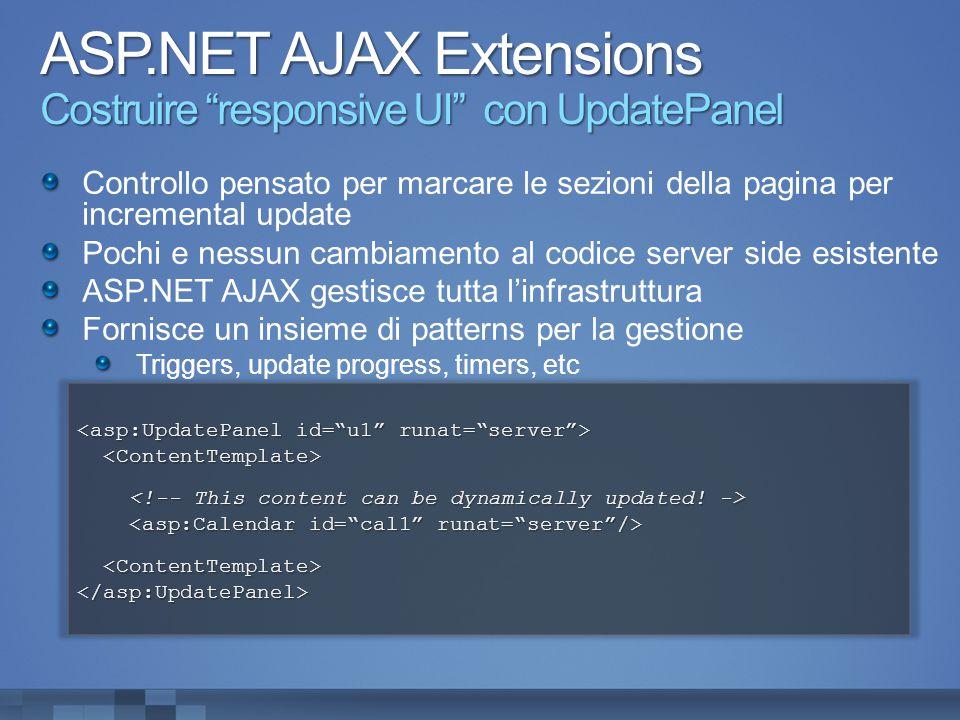 ASP.NET AJAX Extensions Costruire responsive UI con UpdatePanel Controllo pensato per marcare le sezioni della pagina per incremental update Pochi e nessun cambiamento al codice server side esistente ASP.NET AJAX gestisce tutta l'infrastruttura Fornisce un insieme di patterns per la gestione Triggers, update progress, timers, etc </asp:UpdatePanel>