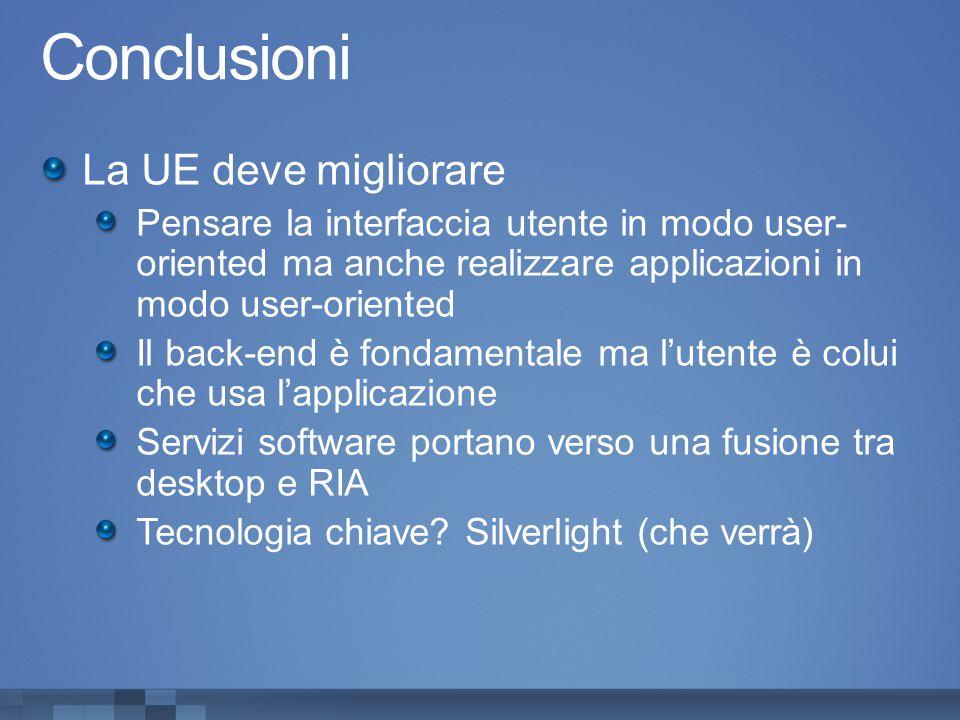 Conclusioni La UE deve migliorare Pensare la interfaccia utente in modo user- oriented ma anche realizzare applicazioni in modo user-oriented Il back-end è fondamentale ma l'utente è colui che usa l'applicazione Servizi software portano verso una fusione tra desktop e RIA Tecnologia chiave.