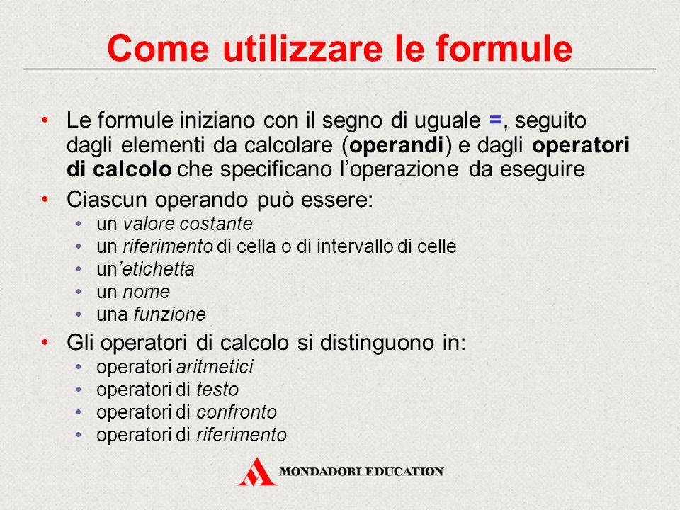 Come utilizzare le formule Le formule iniziano con il segno di uguale =, seguito dagli elementi da calcolare (operandi) e dagli operatori di calcolo c