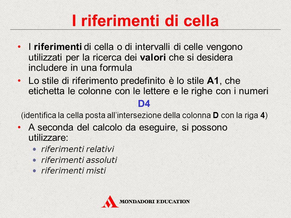 Gli operatori aritmetici +Addizione =A1+B1 Somma i valori contenuti nelle celle A1 e B1 -Sottrazione =B2-B3 Sottrae dal valore contenuto nella cella B2 il valore contenuto nella cella B3 *Moltiplicazione =C1*4 Moltiplica per 4 il valore contenuto nella cella C1 /Divisione =B2/A1 Divide il valore contenuto nella cella B2 per quello contenuto nella cella A1 %Percentuale =F5*10% Calcola il 10% del valore contenuto nella cella F5 ^ Elevamento a potenza =H3^2 Eleva al quadrato il valore contenuto nella cella H3