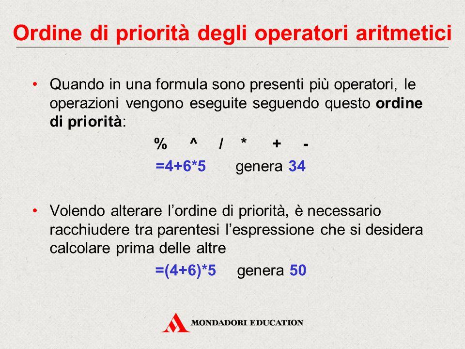 Ordine di priorità degli operatori aritmetici Quando in una formula sono presenti più operatori, le operazioni vengono eseguite seguendo questo ordine