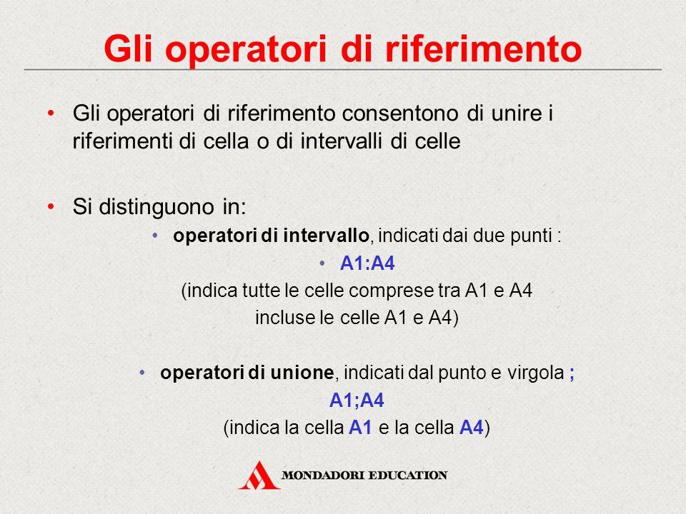 Gli operatori di riferimento Gli operatori di riferimento consentono di unire i riferimenti di cella o di intervalli di celle Si distinguono in: opera