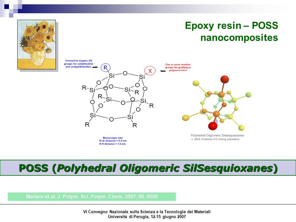 POSS (Polyhedral Oligomeric SilSesquioxanes) Epoxy resin – POSS nanocomposites Mariani et al. J. Polym. Sci. Polym. Chem. 2007, 00, 0000 VI Convegno N