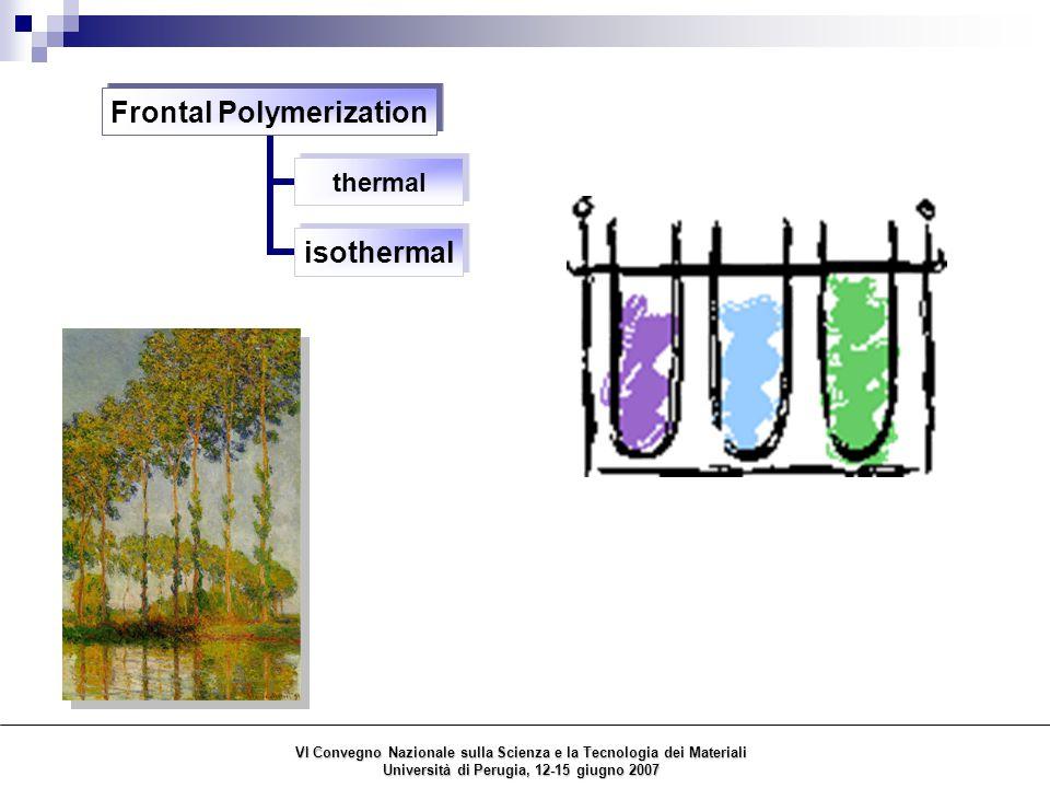 Frontal Polymerization thermal isothermal VI Convegno Nazionale sulla Scienza e la Tecnologia dei Materiali Università di Perugia, 12-15 giugno 2007