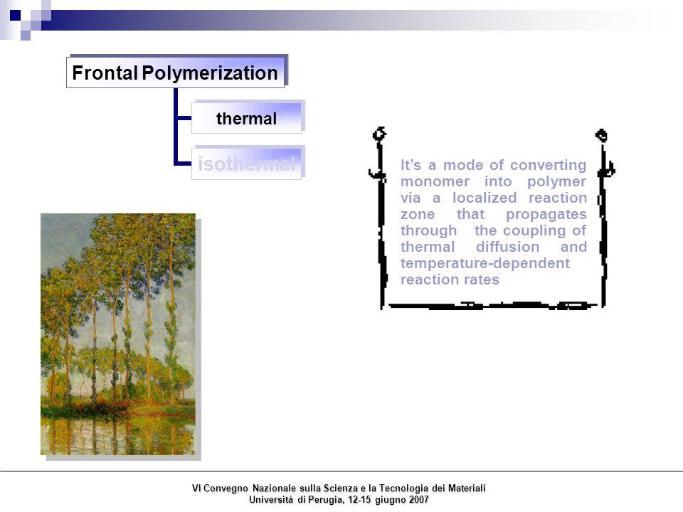 Frontal Polymerizaton thermal isothermal VI Convegno Nazionale sulla Scienza e la Tecnologia dei Materiali Università di Perugia, 12-15 giugno 2007