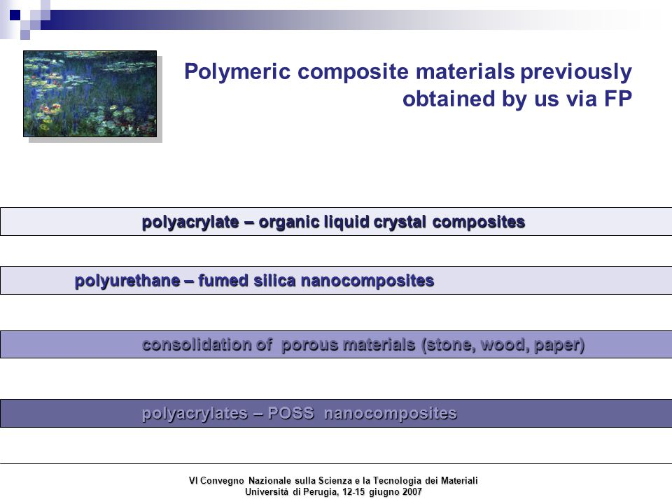 Polymeric nanocomposites obtained in this work via FP Mariani et al.